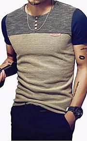 Tee-shirt Homme, Bloc de Couleur Mosaïque Sports Col Arrondi Mince Bleu marine XXXL / Manches Courtes / Eté