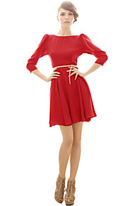 Women's Party Sexy / Vintage Skater Dress,Solid Boat Neck Above Knee ¾ Sleeve Pink / Red / Beige / Black / Yellow PolyesterAll