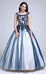 Da ballo Da principessa Girocollo Lungo Lace Over Tulle Graduazione Vestito con Perline Con applique di TS Couture®