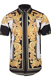 رجالي قميص نحيل ياقة كلاسيكية - عتيق / بوهو طباعة هندسي أسود XL / كم قصير / الصيف