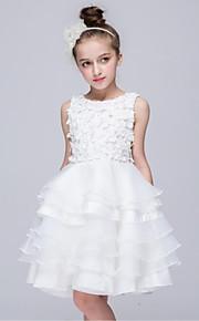 Báli ruha Térdig érő Virágoslány ruha - Organza Ujjatlan Ékszer val vel Rátétek által LAN TING Express