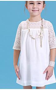 Děti Dívčí Jednobarevné Poloviční rukáv Bavlna Šaty Bílá