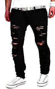 Erkek Sokak Şıklığı / Punk ve Gotik Pamuklu İnce İnce / Kotlar / Chinos Pantolon - Solid Siyah / Hafta sonu