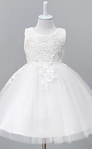 Báli ruha Térdig érő Virágoslány ruha - Organza Ujjatlan Ékszer val vel Csipke által LAN TING Express