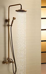 샤워 수전 - 앤티크 앤티크 샤워 시스템 도자기 발브 Bath Shower Mixer Taps / 황동 / 두 핸들 세 개의 구멍