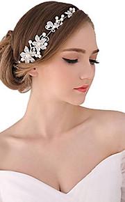 פנינה קריסטל בד סגסוגת Tiaras רצועות פרחים שרשרת ראש 1 חתונה אירוע מיוחד מסיבה\אירוע ערב בָּחוּץ כיסוי ראש