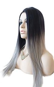 Syntetisk blonder foran parykker Rett Side del Naturlig hårlinje Mørke røtter Ombre-hår Svart Dame Blonde Forside Karneval Parykk