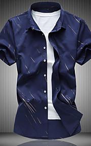 رجالي قطن قميص نحيل ياقة كلاسيكية - كاجوال طباعة مخطط أبيض XXXXL / كم قصير / الصيف