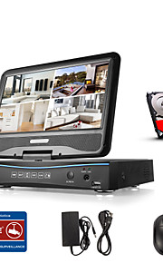 SANNCE® 10.1 LCD 8CH Digital Video Recorder Spports Analog AHD TVI 720P Cameras Surveillance Security System With 1TB HDD