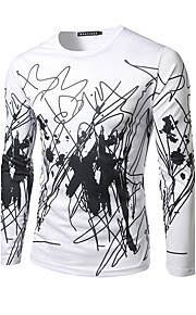 Hombre Chic de Calle Deportes Estampado Camiseta, Escote Redondo Negro L / Manga Larga