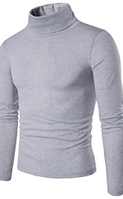 Men's Daily / Weekend Solid Colored Long Sleeve Slim Regular Pullover, Turtleneck Spring Purple / Wine / Light gray L / XL / XXL