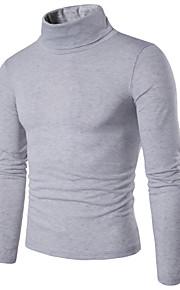 Homme Quotidien / Fin de semaine Couleur Pleine Manches Longues Mince Normal Pullover, Col Roulé Printemps Violet / Vin / Gris Clair L / XL / XXL