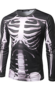 男性用 プリント Tシャツ ストリートファッション ラウンドネック スカル / 長袖