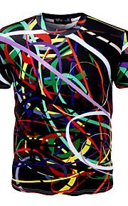 男性用 スポーツ - プリント プラスサイズ Tシャツ 活発的 ラウンドネック スリム 幾何学模様 コットン / 半袖