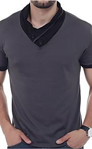 男性用 Polo 活発的 / ストリートファッション スリム ソリッド / パッチワーク コットン / 半袖