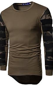 男性用 スポーツ Tシャツ 活発的 ラウンドネック スリム カモフラージュ / 長袖