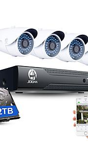 jooan® 4ch cctv nvr systeem h.264 poe 1080p video-uitgang waterdicht ip camera met 2tb hdd