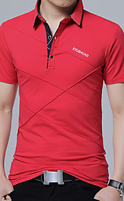 男性用 プラスサイズ Polo カジュアル シャツカラー ソリッド コットン / 長袖