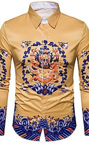 Муж. С принтом Рубашка Уличный стиль Желтый XL / Длинный рукав