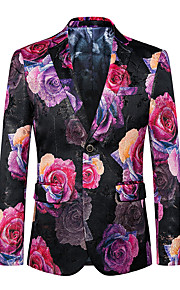 Men's Club / Party / Cocktail Street chic / Punk & Gothic / Sophisticated Spring / Fall Plus Size Regular Blazer, Floral V Neck Long Sleeve Cotton / Polyester Oversized / Print Red 4XL / XXXXXL