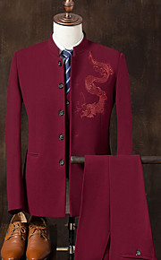 Men's Daily Chinoiserie Spring / Fall Plus Size Regular Suits Stand Long Sleeve Polyester Embroidered / Print Black / Navy Blue / Wine XXL / XXXL / 4XL / Slim