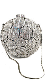 Women's Bags Metal Evening Bag Crystal Detailing for Wedding Event/Party Formal All Seasons Silver