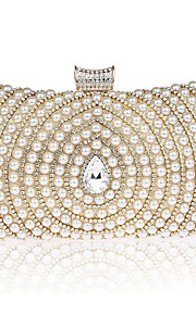 Women's Bags PVC Polyester Evening Bag Crystal Detailing Pearl Detailing Flower for Wedding Event/Party All Seasons Gold Black Silver Red
