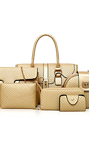 Women's Bags PU Bag Set 6 Pieces Purse Set Zipper for Shopping Casual Spring All Seasons Gold Black Gray Brown