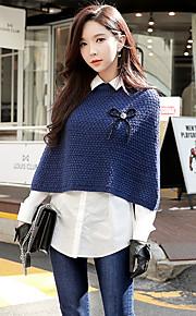 Жен. На выход На каждый день / Уличный стиль Пуловер - Однотонный Рубашечный воротник