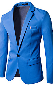 Men's Daily / Going out / Weekend Spring / Fall Regular Blazer, Solid Colored V Neck Long Sleeve Cotton / Polyester Navy Blue / Light Blue / Khaki XL / XXL / XXXL / Slim