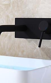 Modern/Hedendaags Muurbevestigd Keramische ventiel Single Handle Een Hole Zwart, Wastafel kraan