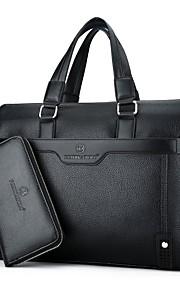 Men's Bags PU Bag Set 2 Pieces Purse Set Pocket Zipper for Casual Office & Career All Seasons Black Brown