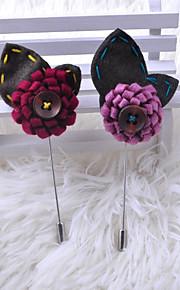 Homme Femme Broche Bijoux Fleur simple Tissu Alliage Fleur Violet pêche Vin Bijoux Pour Mariage Soirée