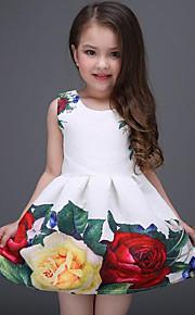 아동 여아 단 일상 / 홀리데이 플로럴 프린트 민소매 폴리에스테르 드레스 화이트