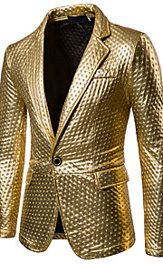 Men's Party / Casual / Daily Sophisticated Spring / Fall Regular Blazer, Solid Colored Shirt Collar Long Sleeve PU Cut Out Gold / Black / Silver L / XL / XXL / Slim