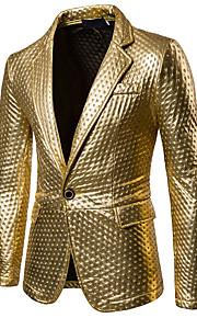 Hombre Fiesta / Casual / Diario Sofisticado Primavera / Otoño Regular Blazer, Un Color Cuello Camisero Manga Larga Poliuretano Cortado Dorado / Negro / Plata L / XL / XXL / Delgado