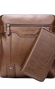 Men's Bags PU Bag Set 2 Pieces Purse Set Zipper for Event/Party Casual Winter Fall Black Brown Dark Brown