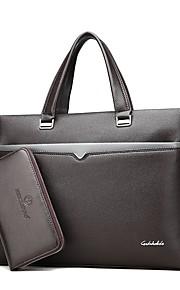 Men's Bags PU Bag Set 2 Pieces Purse Set Zipper for Office & Career Outdoor All Seasons Black Brown