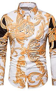 Ανδρικά Πουκάμισο Βίντατζ Φλοράλ Ανοιχτός γιακάς Λεπτό Στάμπα Χρυσό XL / Μακρυμάνικο