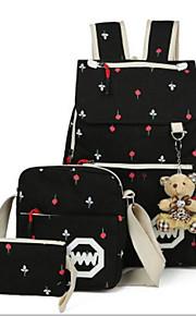 Women's Bags Canvas Bag Set 3 Pcs Purse Set Pattern / Print for Casual Outdoor Winter Black Red Dark Blue Light Green Sky Blue