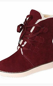 Women's Shoes PU Winter Fall Comfort Boots Flat Heel Closed Toe Booties/Ankle Boots for Casual Outdoor Black Beige Brown Red