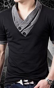 男性用 パッチワーク Tシャツ ストリートファッション Vネック ソリッド / 半袖 / 夏