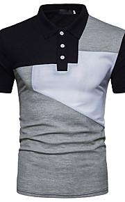 Муж. Классический Polo Рубашечный воротник Тонкие Активный Контрастных цветов Черное и белое Белый L / С короткими рукавами / Лето