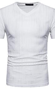 Ανδρικά T-shirt Κομψό στυλ street Λαιμόκοψη V Λευκό L / Κοντομάνικο / Άνοιξη / Καλοκαίρι