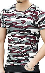 Rund hals Herre Bomuld Militær T-shirt Hvid XL / Kortærmet