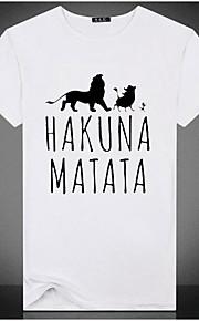 男性用 プリント プラスサイズ Tシャツ ベーシック ラウンドネック スリム レタード / 半袖