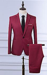 Bărbați Zilnic / Muncă Vintage Mărime Plus Size Regular Blazer, Mată Rever Clasic Manșon Lung Poliester Roșu Vin / Albastru Deschis / Kaki XL / XXL / XXXL / Business Formal / Zvelt
