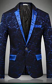 Hombre Fiesta / Discoteca / Fiesta / Cóctel Sofisticado Primavera / Otoño Regular Blazer, Estampado / Estampado Floral Solapa de Pico Manga Larga Algodón / Poliéster Azul Piscina / Negro / Wine XL