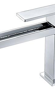 バスルームのシンクの蛇口 - 滝状吐水タイプ クロム 洗面ボウル シングルハンドルつの穴