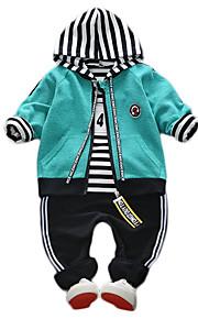 Toddler Genç Erkek Sokak Şıklığı Çizgili Uzun Kollu Polyester Kıyafet Seti Yonca